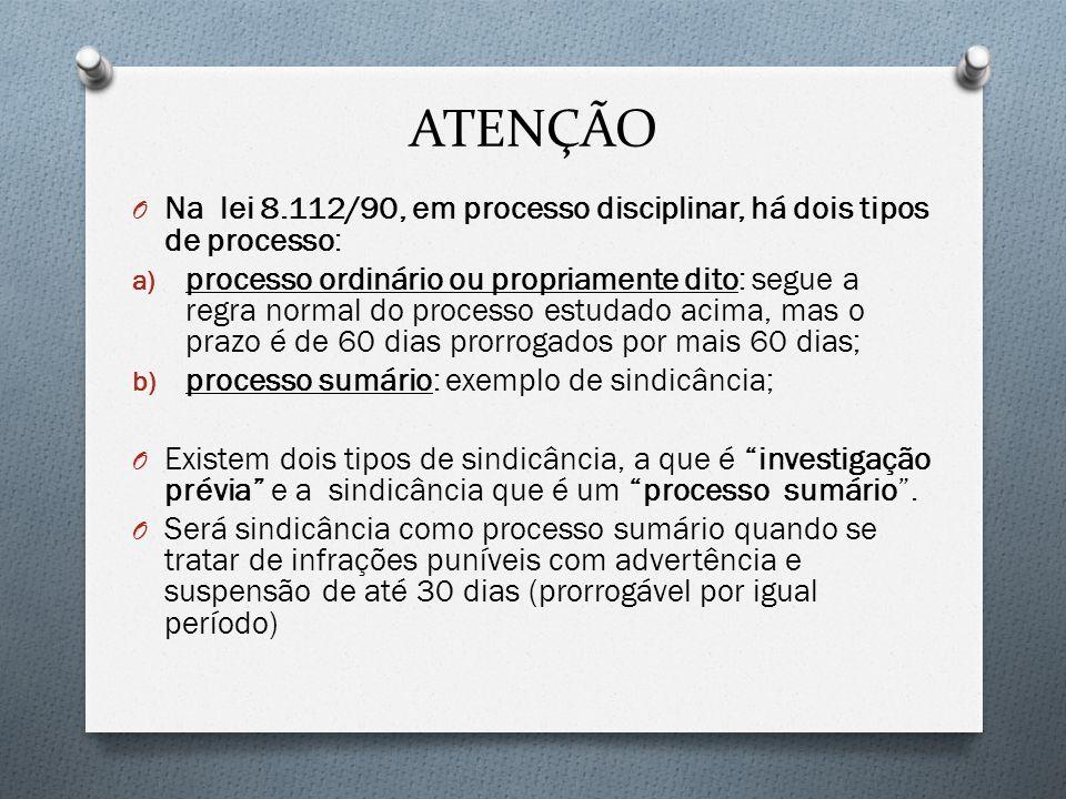 ATENÇÃO Na lei 8.112/90, em processo disciplinar, há dois tipos de processo: