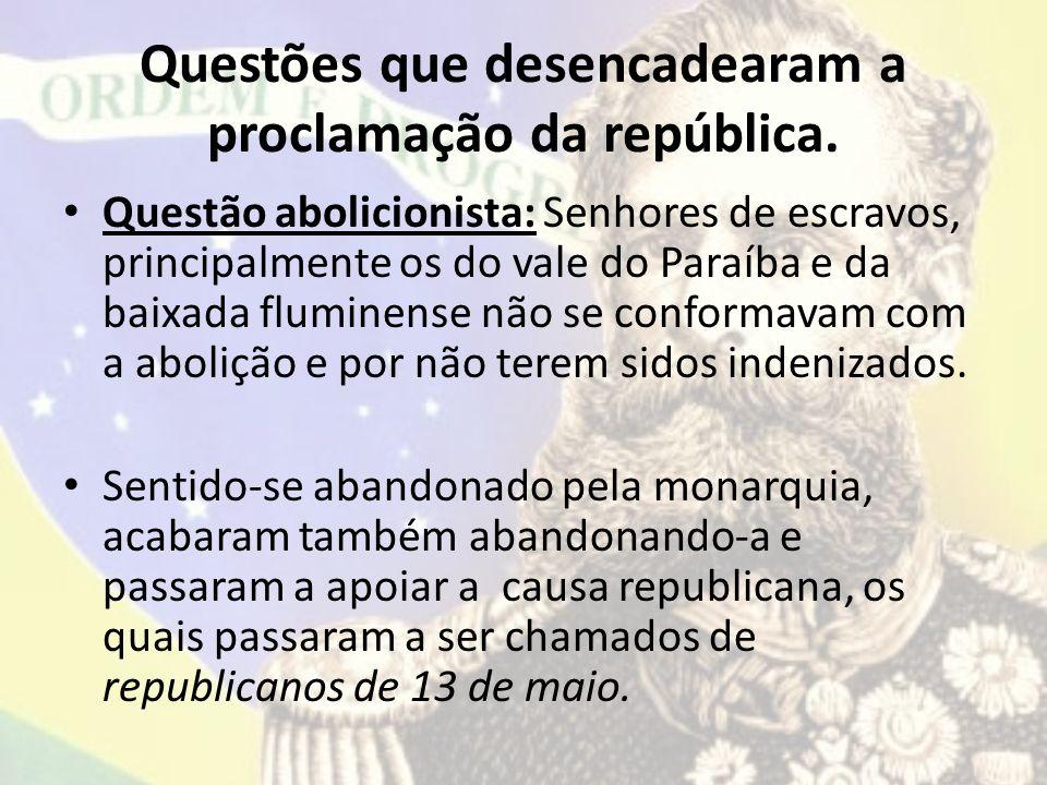 Questões que desencadearam a proclamação da república.