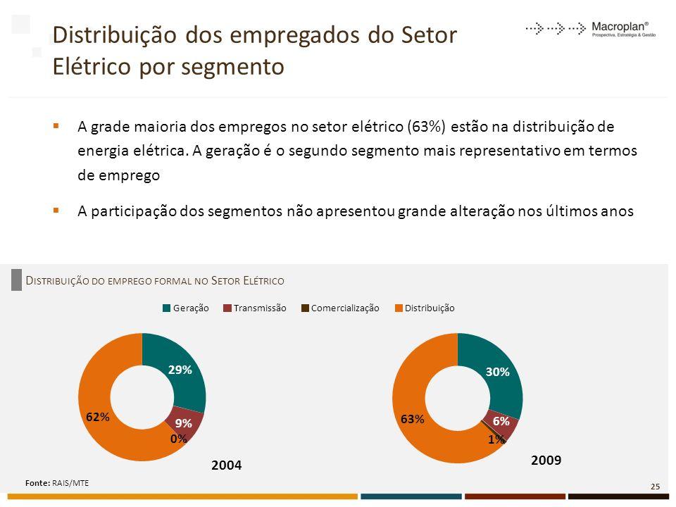 Distribuição dos empregados do Setor Elétrico por segmento