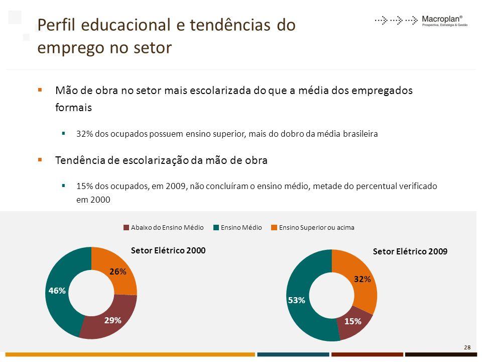 Perfil educacional e tendências do emprego no setor