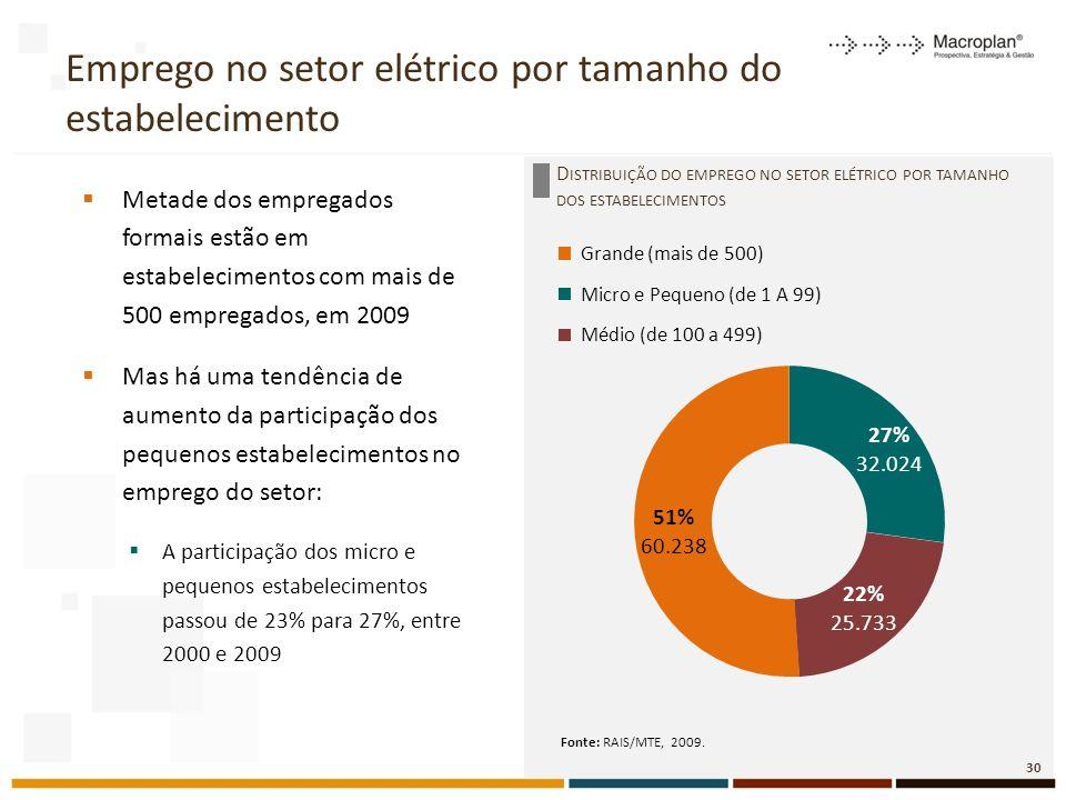 Emprego no setor elétrico por tamanho do estabelecimento