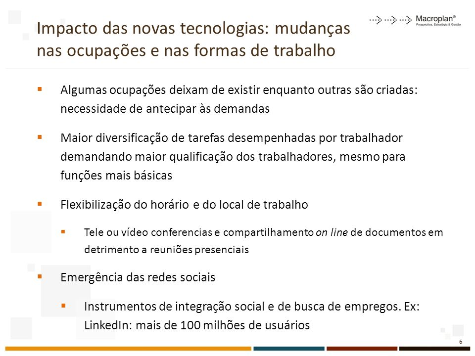 Impacto das novas tecnologias: mudanças nas ocupações e nas formas de trabalho