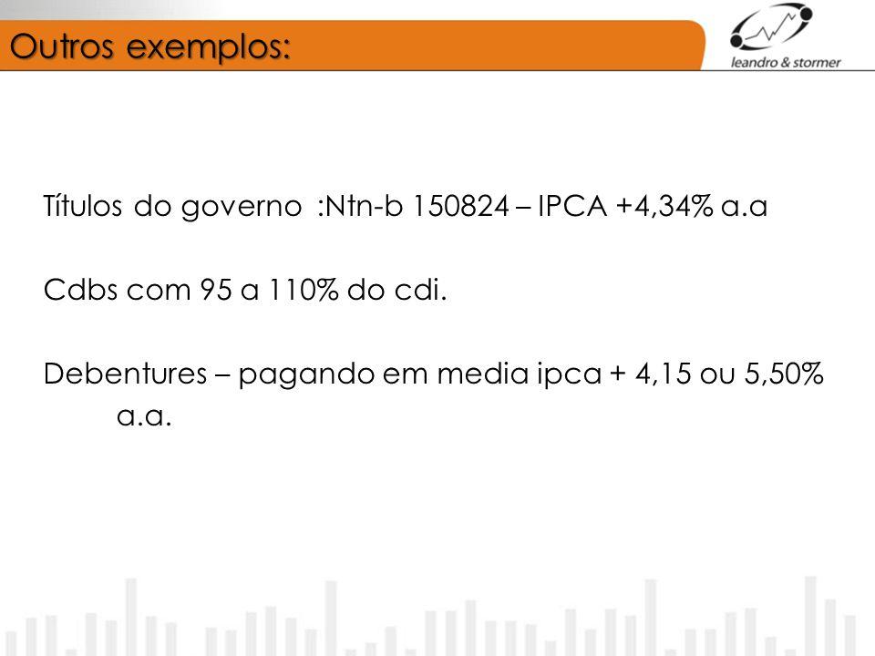 Outros exemplos: Títulos do governo :Ntn-b 150824 – IPCA +4,34% a.a