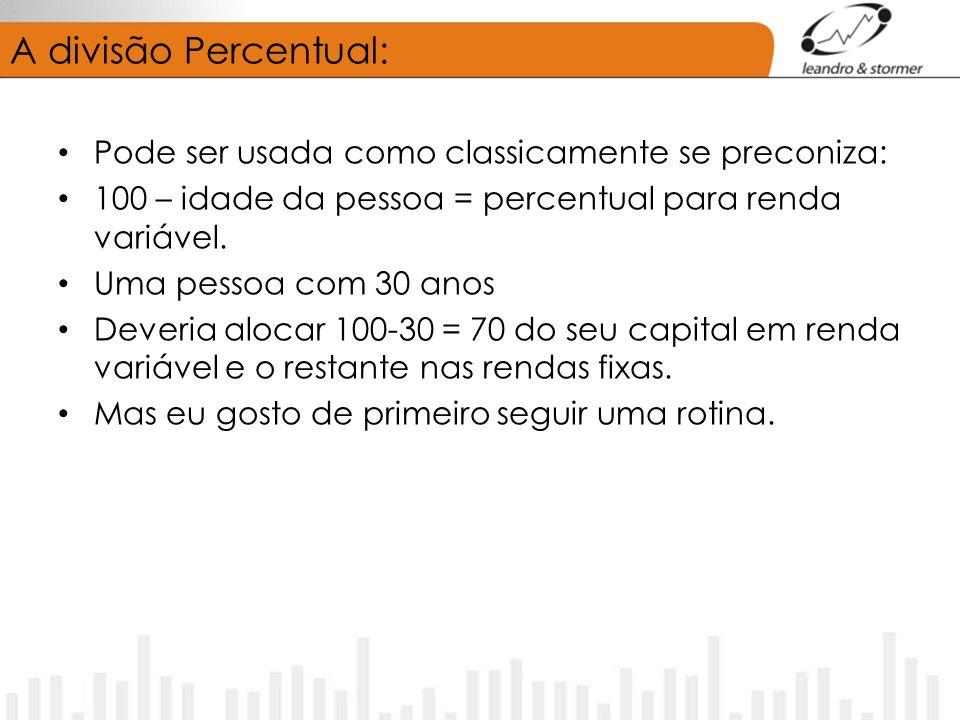 A divisão Percentual: Pode ser usada como classicamente se preconiza: