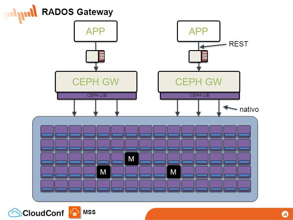 RADOS Gateway APP APP REST CEPH LIB CEPH GW CEPH GW CEPH LIB nativo M