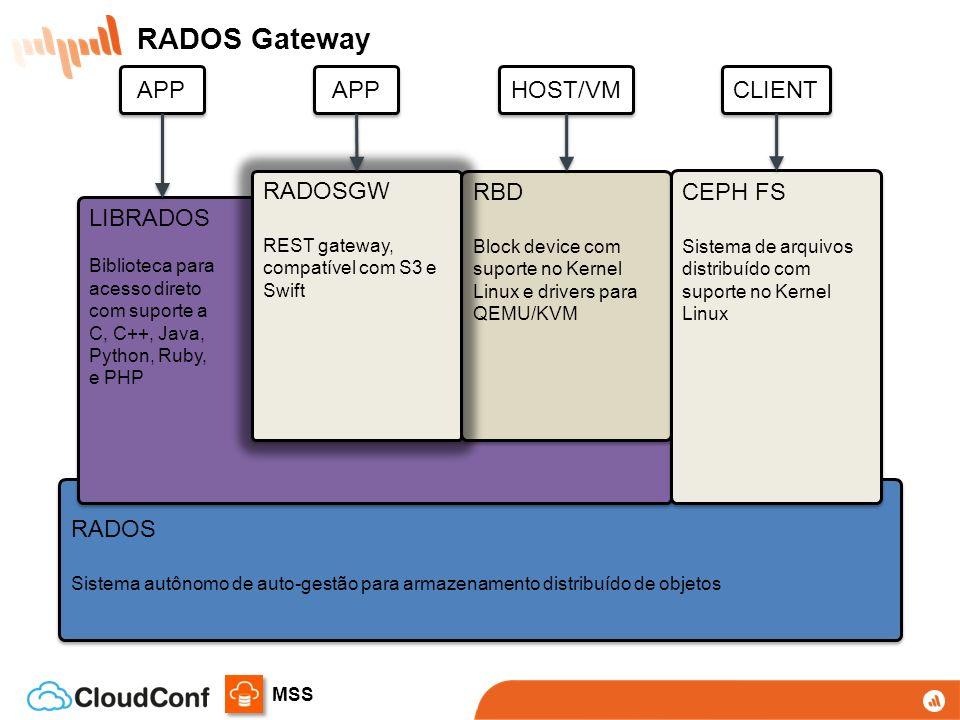 RADOS Gateway APP APP HOST/VM CLIENT RADOSGW RBD CEPH FS LIBRADOS