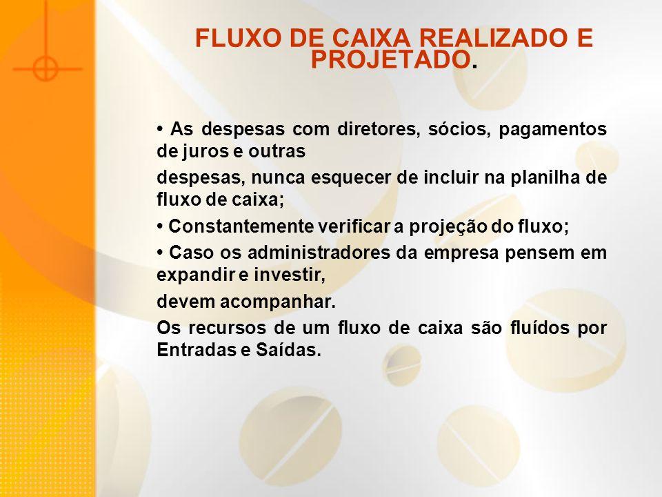 FLUXO DE CAIXA REALIZADO E PROJETADO.