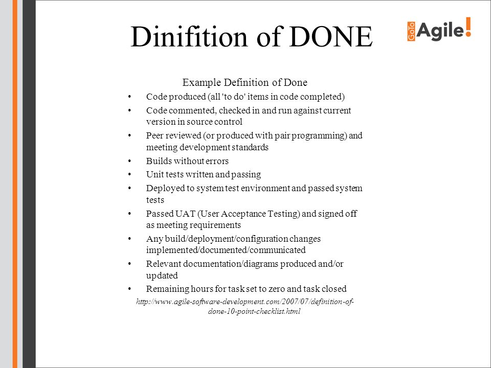 Example Definition of Done