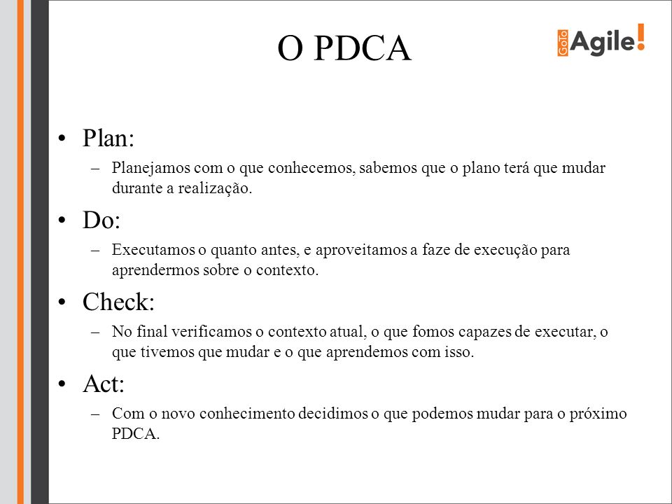O PDCA Plan: Do: Check: Act: