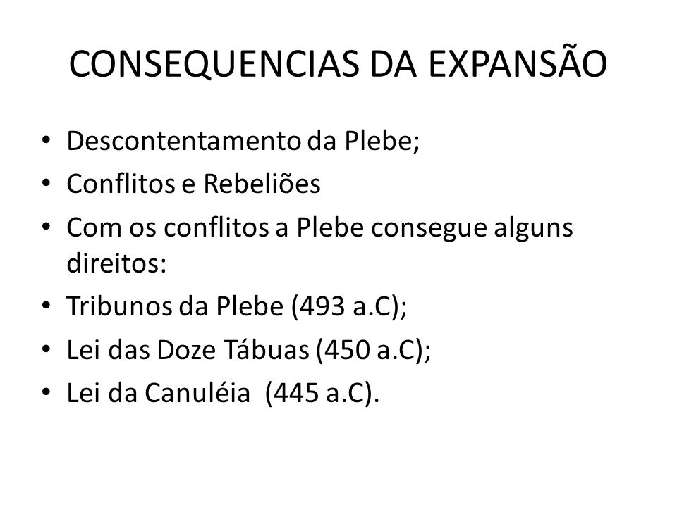 CONSEQUENCIAS DA EXPANSÃO