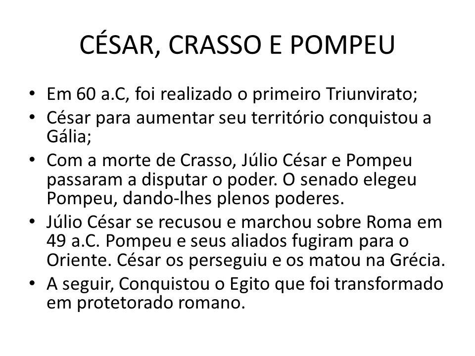 CÉSAR, CRASSO E POMPEU Em 60 a.C, foi realizado o primeiro Triunvirato; César para aumentar seu território conquistou a Gália;
