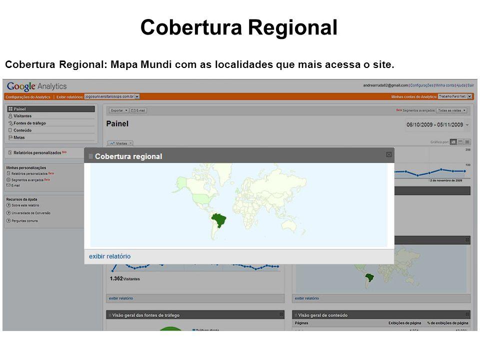Cobertura Regional Cobertura Regional: Mapa Mundi com as localidades que mais acessa o site.