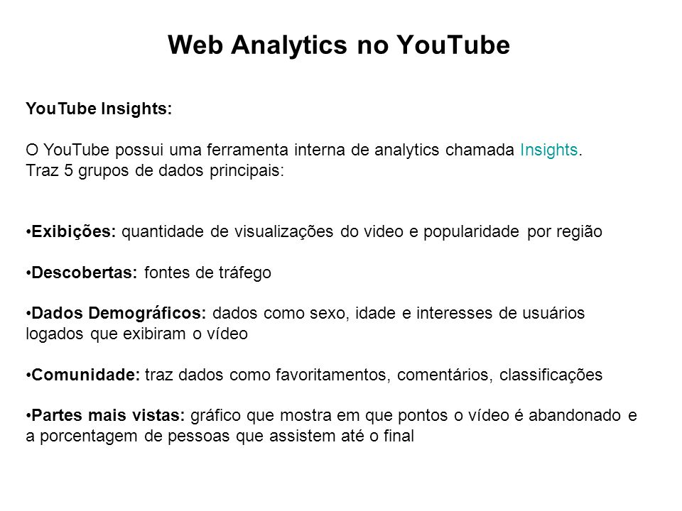 Web Analytics no YouTube