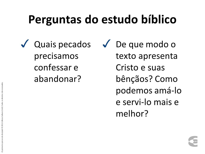 Perguntas do estudo bíblico
