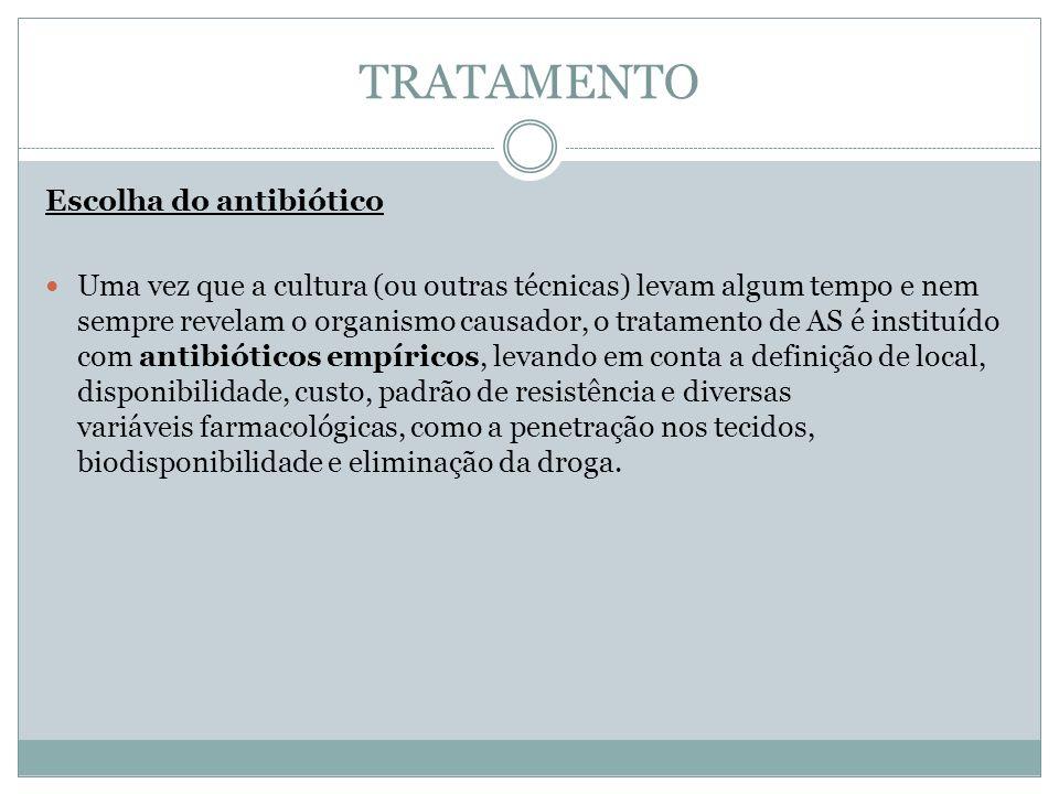 TRATAMENTO Escolha do antibiótico