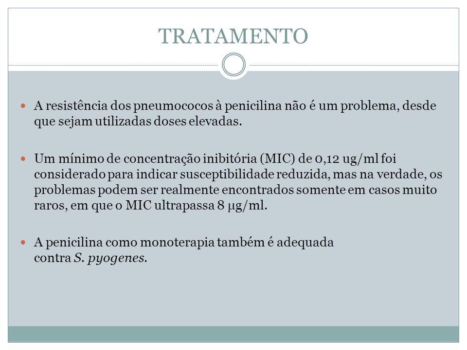 TRATAMENTO A resistência dos pneumococos à penicilina não é um problema, desde que sejam utilizadas doses elevadas.