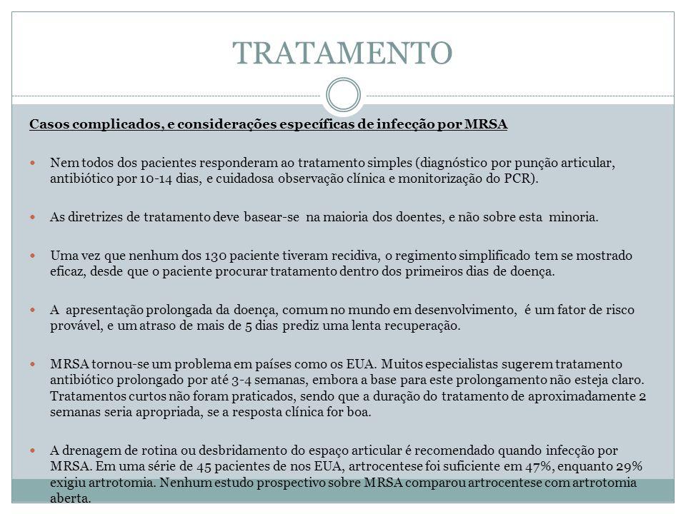 TRATAMENTO Casos complicados, e considerações específicas de infecção por MRSA.
