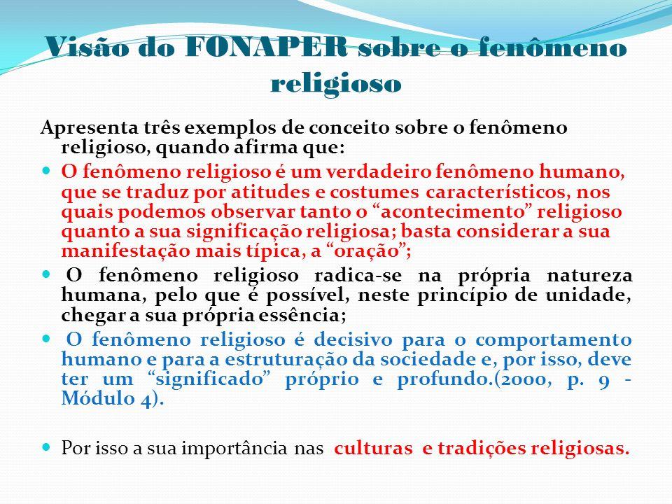 Visão do FONAPER sobre o fenômeno religioso