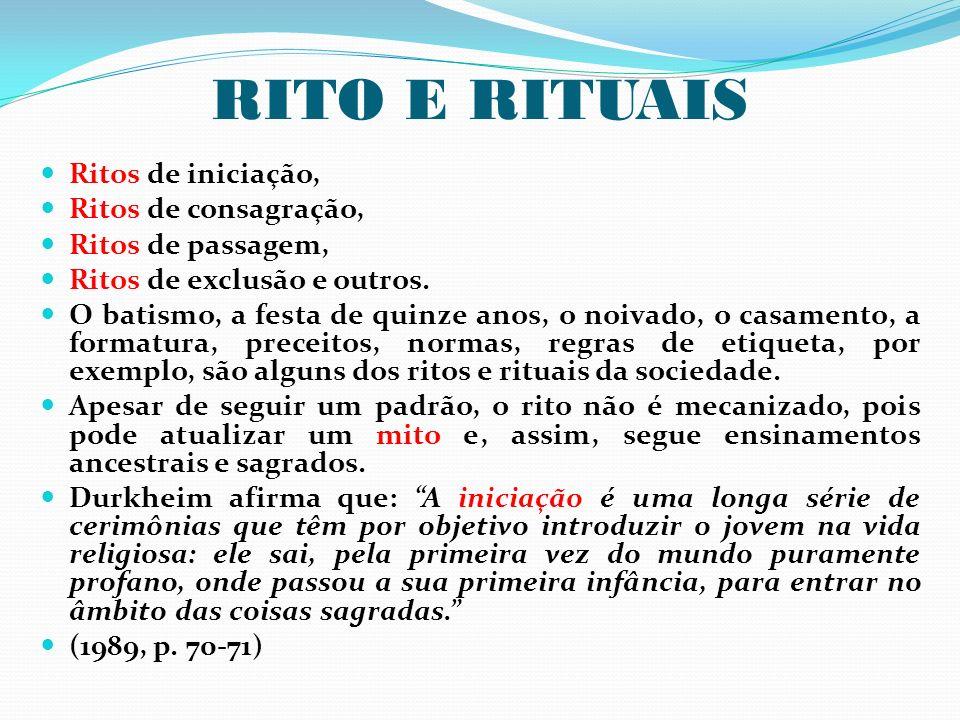 RITO E RITUAIS Ritos de iniciação, Ritos de consagração,