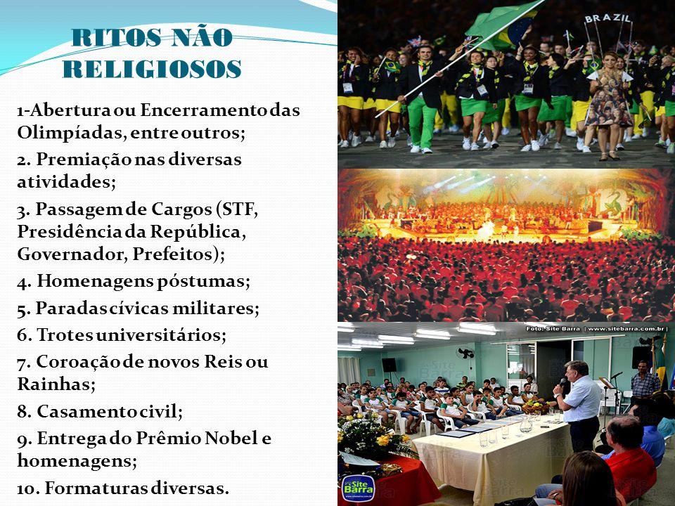 RITOS NÃO RELIGIOSOS 1-Abertura ou Encerramento das Olimpíadas, entre outros; 2. Premiação nas diversas atividades;