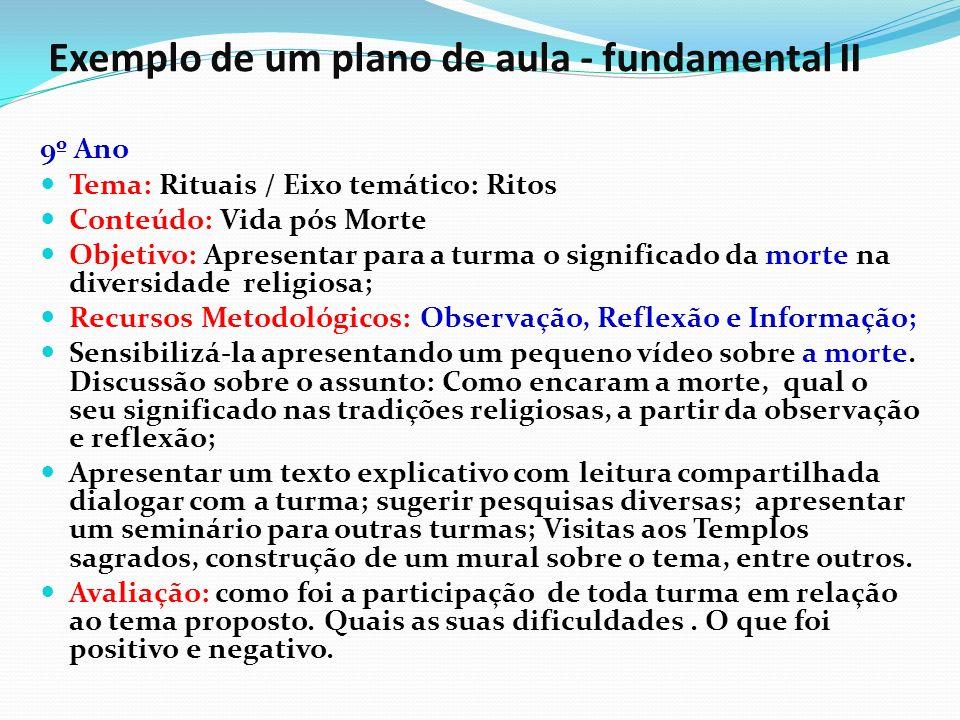 Exemplo de um plano de aula - fundamental II