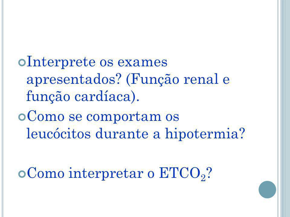Interprete os exames apresentados (Função renal e função cardíaca).