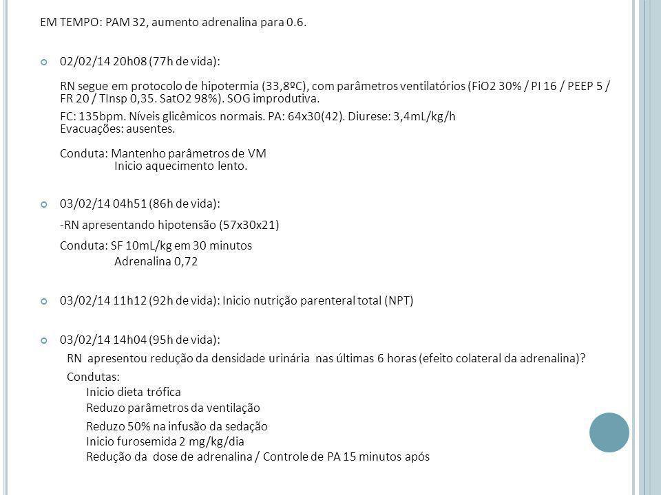 EM TEMPO: PAM 32, aumento adrenalina para 0.6.