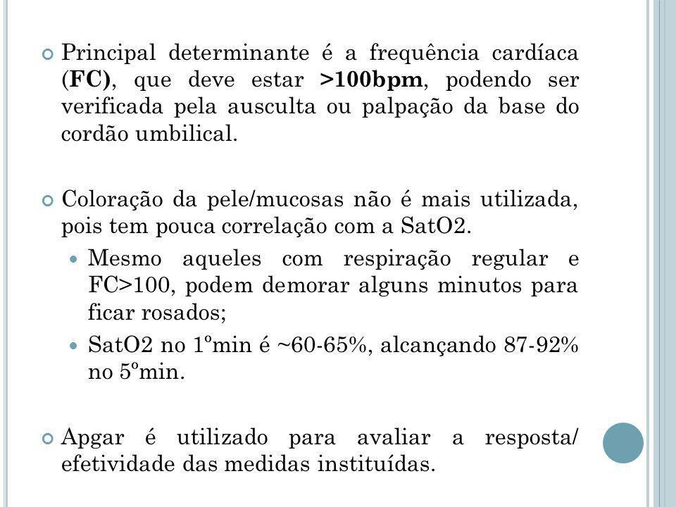 Principal determinante é a frequência cardíaca (FC), que deve estar >100bpm, podendo ser verificada pela ausculta ou palpação da base do cordão umbilical.