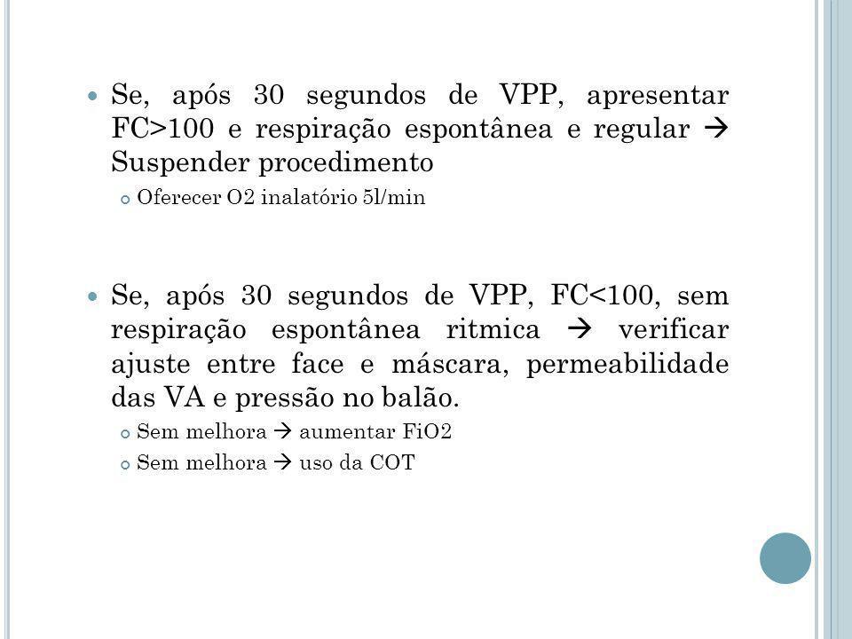 Se, após 30 segundos de VPP, apresentar FC>100 e respiração espontânea e regular  Suspender procedimento