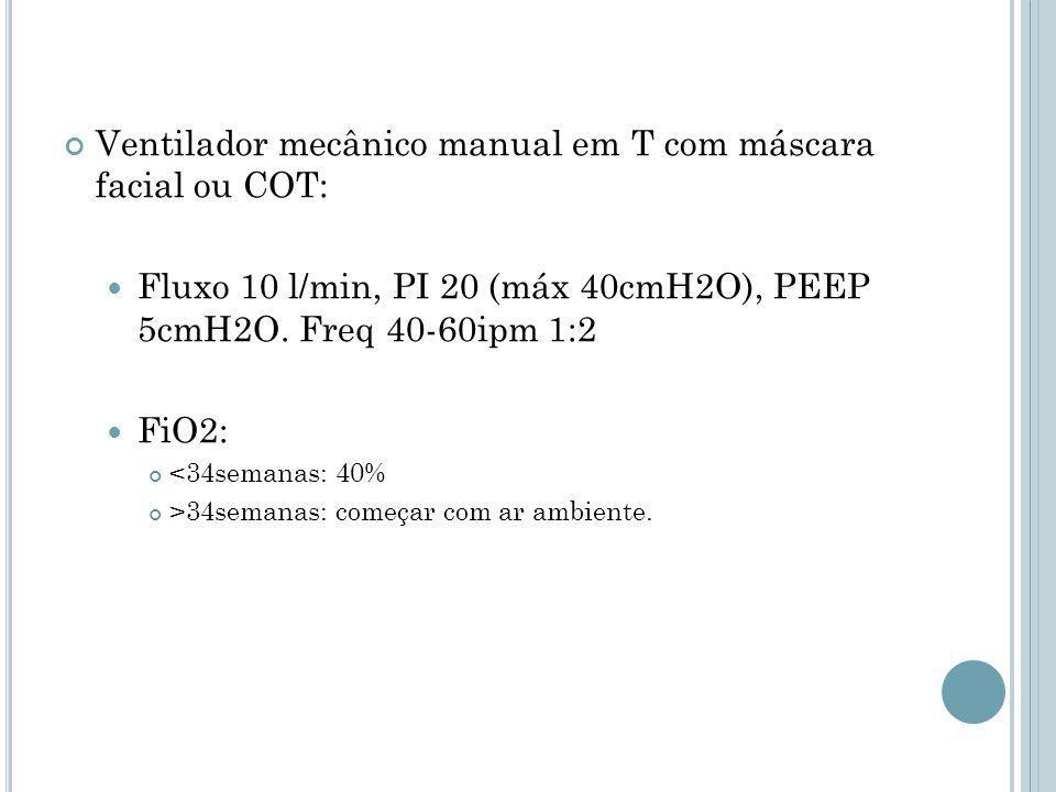 Ventilador mecânico manual em T com máscara facial ou COT: