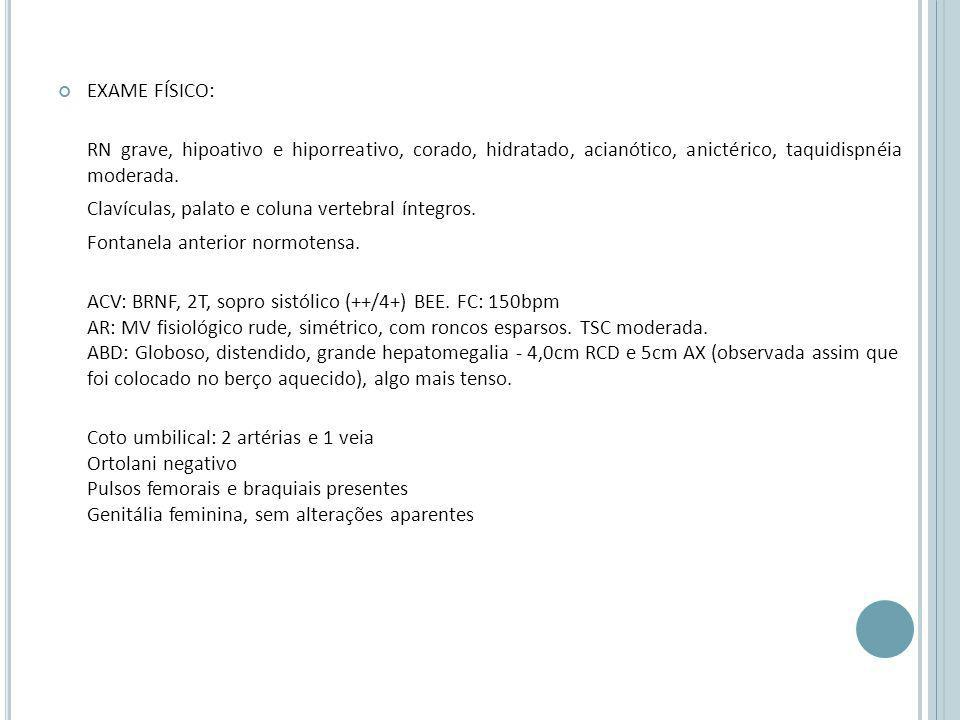 EXAME FÍSICO: RN grave, hipoativo e hiporreativo, corado, hidratado, acianótico, anictérico, taquidispnéia moderada.