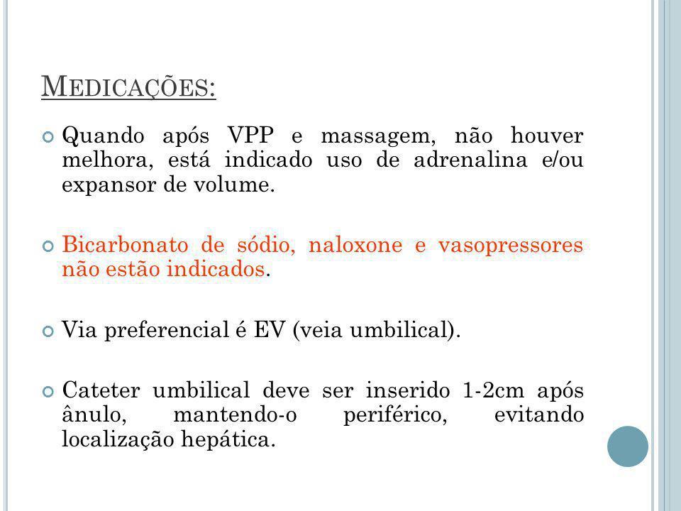 Medicações: Quando após VPP e massagem, não houver melhora, está indicado uso de adrenalina e/ou expansor de volume.