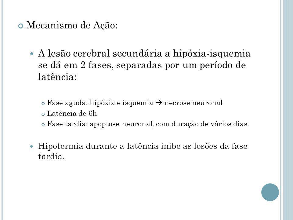 Mecanismo de Ação: A lesão cerebral secundária a hipóxia-isquemia se dá em 2 fases, separadas por um período de latência: