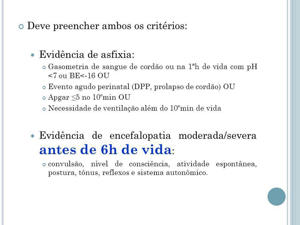 Deve preencher ambos os critérios: Evidência de asfixia: