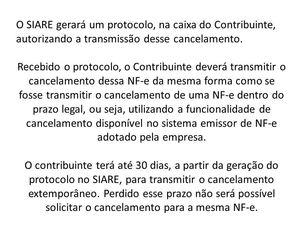 O SIARE gerará um protocolo, na caixa do Contribuinte, autorizando a transmissão desse cancelamento.