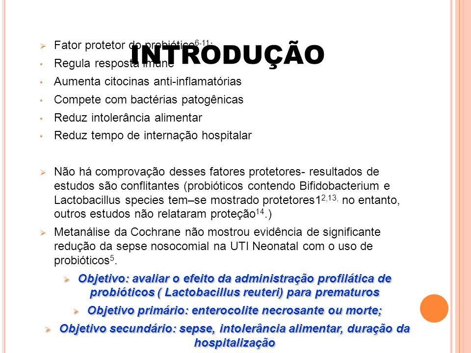 Objetivo primário: enterocolite necrosante ou morte;