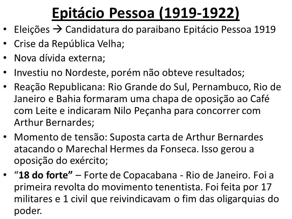 Epitácio Pessoa (1919-1922) Eleições  Candidatura do paraibano Epitácio Pessoa 1919. Crise da República Velha;