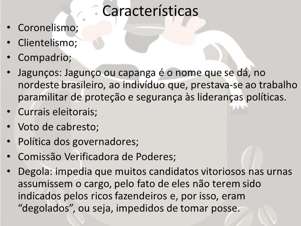 Características Coronelismo; Clientelismo; Compadrio;