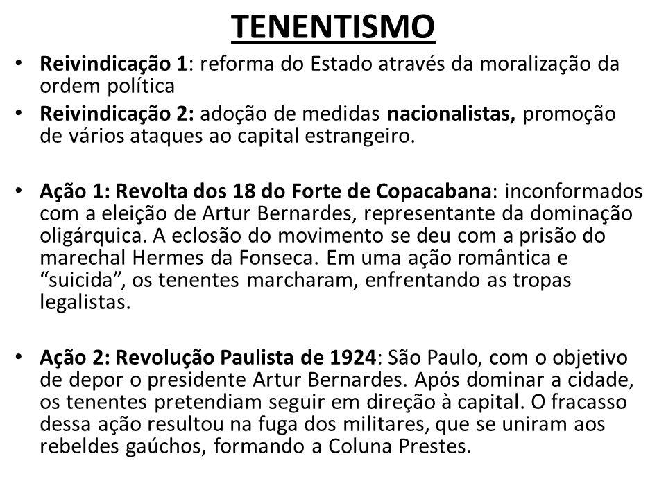TENENTISMO Reivindicação 1: reforma do Estado através da moralização da ordem política.