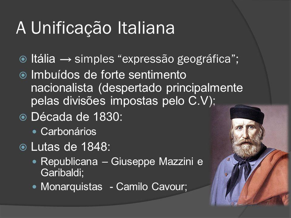 A Unificação Italiana Itália → simples expressão geográfica ;