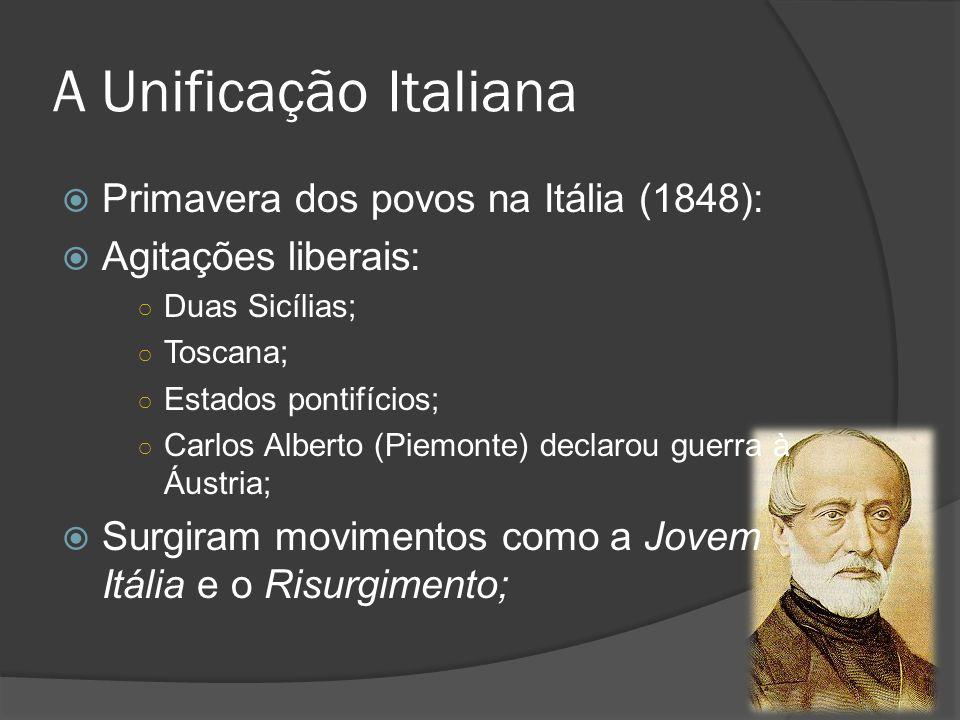 A Unificação Italiana Primavera dos povos na Itália (1848):