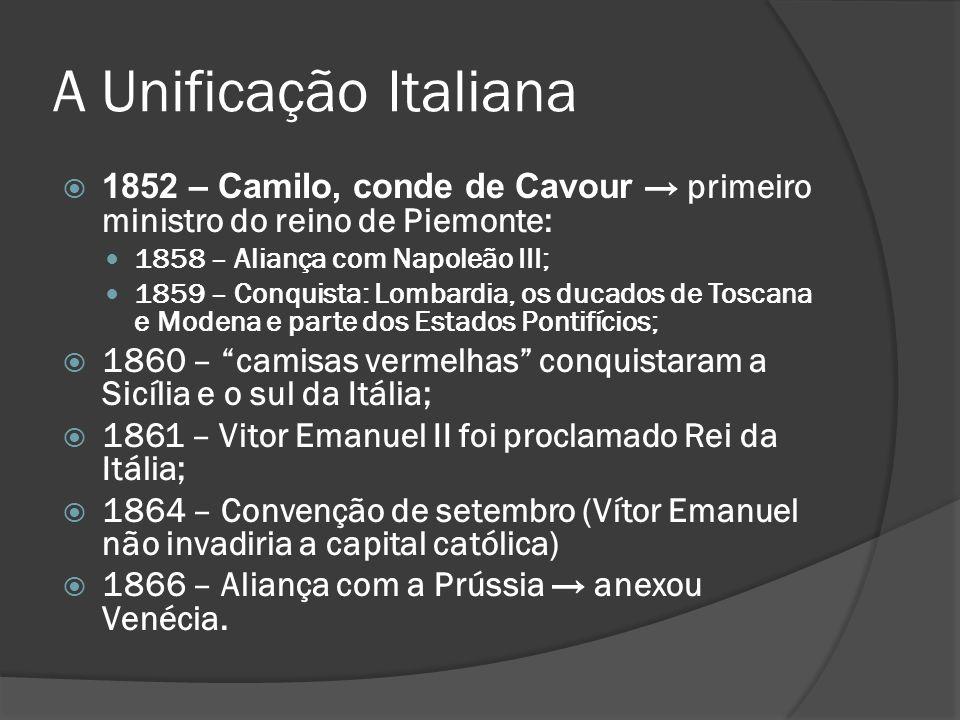A Unificação Italiana 1852 – Camilo, conde de Cavour → primeiro ministro do reino de Piemonte: 1858 – Aliança com Napoleão III;