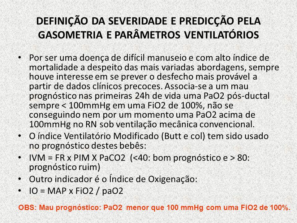 DEFINIÇÃO DA SEVERIDADE E PREDICÇÃO PELA GASOMETRIA E PARÂMETROS VENTILATÓRIOS