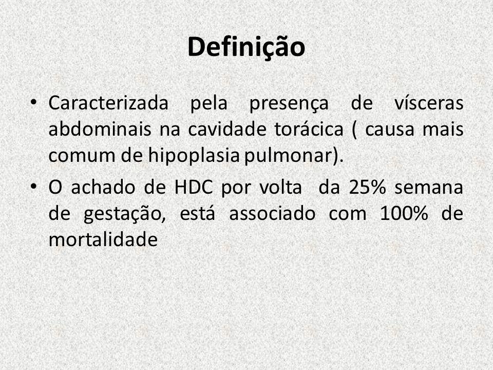 Definição Caracterizada pela presença de vísceras abdominais na cavidade torácica ( causa mais comum de hipoplasia pulmonar).
