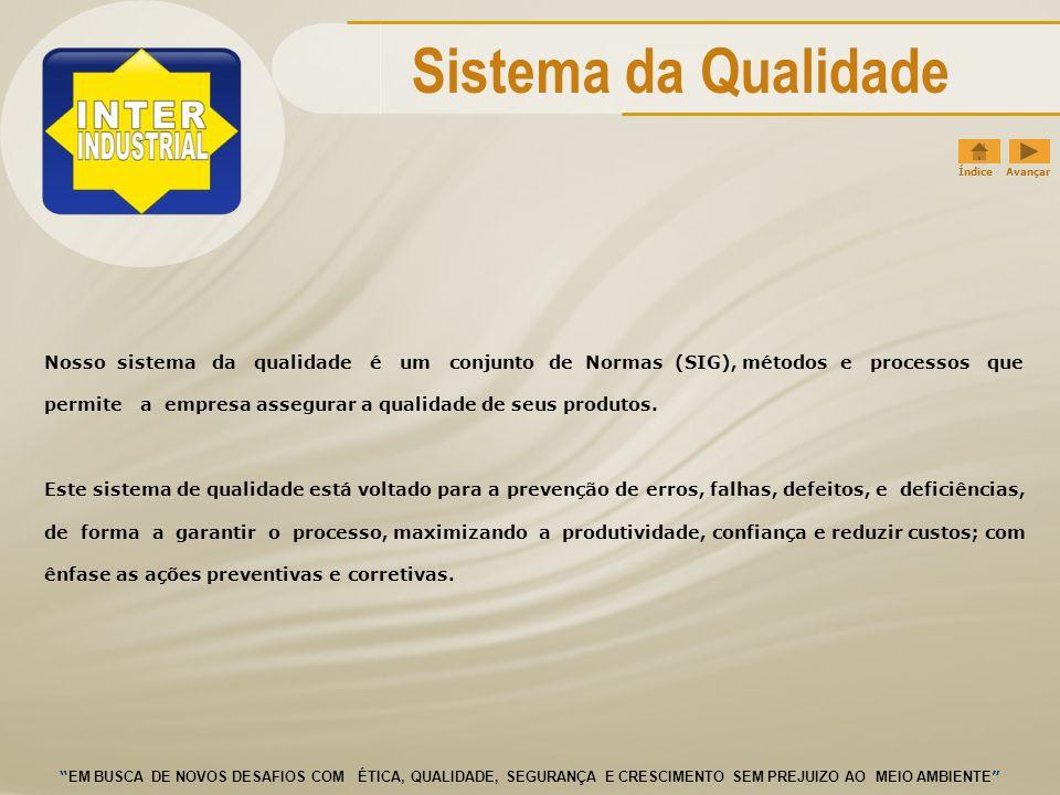 Sistema da Qualidade Índice Avançar. Nosso sistema da qualidade é um conjunto de Normas (SIG), métodos e processos que.