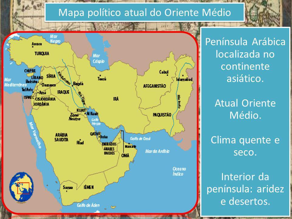 Mapa político atual do Oriente Médio