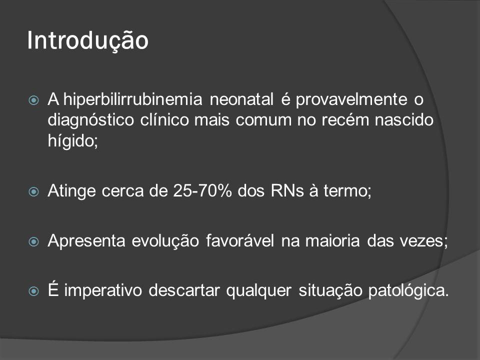 Introdução A hiperbilirrubinemia neonatal é provavelmente o diagnóstico clínico mais comum no recém nascido hígido;