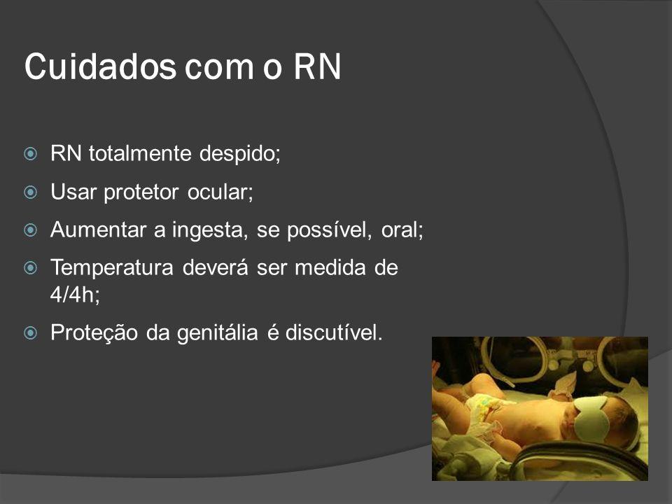 Cuidados com o RN RN totalmente despido; Usar protetor ocular;