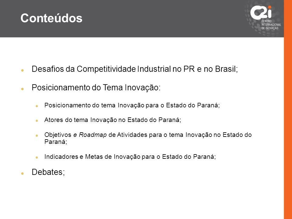 Conteúdos Desafios da Competitividade Industrial no PR e no Brasil;