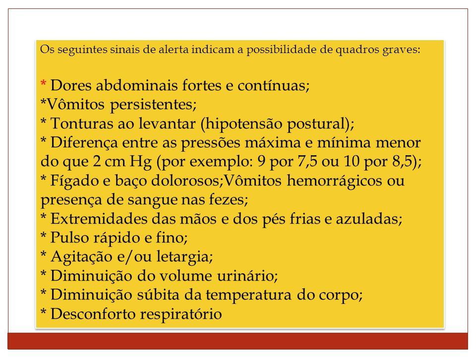* Dores abdominais fortes e contínuas; *Vômitos persistentes;